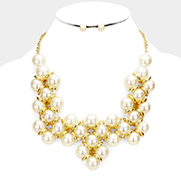 Pearl Intertwined Statement Bib Necklace