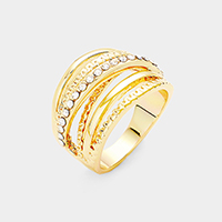 Gold Plated Cubic Zirconia Embellished Crisscross Ring