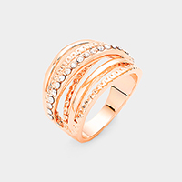 Rose Gold Plated Cubic Zirconia Embellished Crisscross Ring