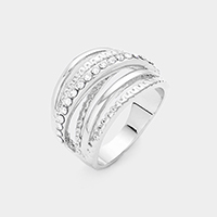 Rhodium Plated Cubic Zirconia Embellished Crisscross Ring