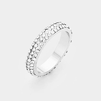 Rhodium Plated 3Rows Cubic Zirconia Pave Ring