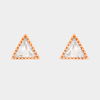 Crystal cubic zirconia CZ triangle stud earrings