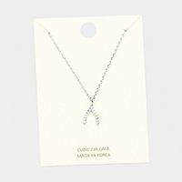 Cubic Zirconia Wishbone Pendant Necklace