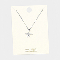 Cubic Zirconia Starfish Pendant Necklace
