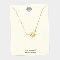 Gold Dipped North Star Cubic Zirconia Pendant Necklace