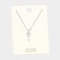 Cubic Zirconia Key Pendant Necklace