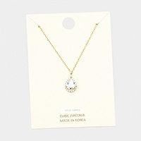 Cubic Zirconia Teardrop Pendant Necklace