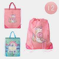 12PCS - Unicorn Printed Drawstring Bags