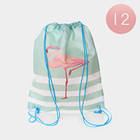 12PCS - Stripe Flamingo Printed Drawstring Bags