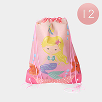 12PCS - Mermaid Printed Drawstring Bags