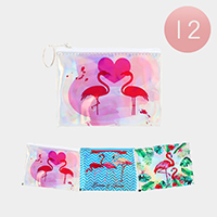 12PCS - Flamingo Hologram Pouch Bags