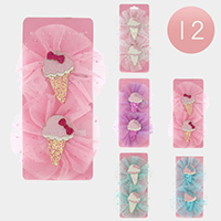 12 Set of 2 - Glittered Ice Cream Hair Clips