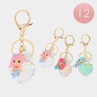 12PCS - Mermaid Heart Key Chains