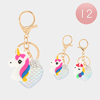12PCS - Unicorn Heart Key Chains