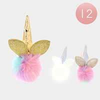 12PCS - Unicorn Horn Pom Pom Key Chains