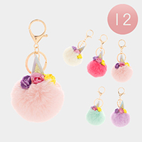 12PCS - Triple Flower Unicorn Pom Pom Key Chains