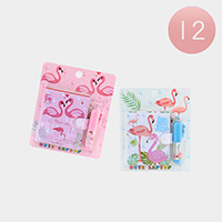 12Set - Flamingo Printed Mini Notebook Mini Pen Set