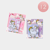 12Set - Unicorn Printed Mini Notebook Mini Pen Set