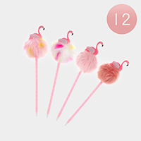 12PCS - Flamingo Pom Pom Ball Pens