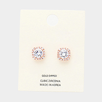 Gold Dipped CZ Trim Round Stone Stud Earrings