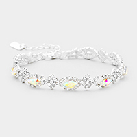 Crystal Rhinestone Pave Oval Detail Evening Bracelet