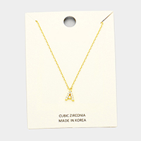 'A' Cubic Zirconia Monogram Pendant Necklace