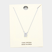 'B' Cubic Zirconia Monogram Pendant Necklace