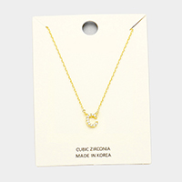 'C' Cubic Zirconia Monogram Pendant Necklace