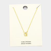 'G' Cubic Zirconia Monogram Pendant Necklace