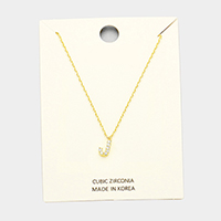 'J' Cubic Zirconia Monogram Pendant Necklace