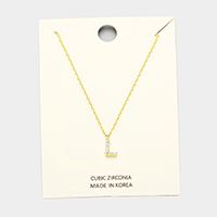 'L' Cubic Zirconia Monogram Pendant Necklace