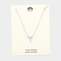 'T' Cubic Zirconia Monogram Pendant Necklace