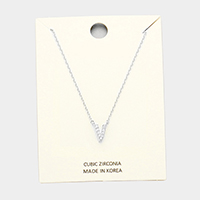 'V' Cubic Zirconia Monogram Pendant Necklace