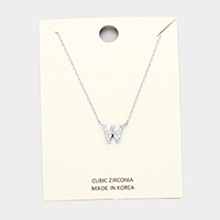 'W' Cubic Zirconia Monogram Pendant Necklace