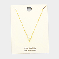 'Y' Cubic Zirconia Monogram Pendant Necklace