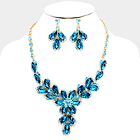 Floral Oval Crystal Cluster Evening Necklace