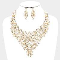 Floral Oval Crystal Cluster Vine Evening Necklace