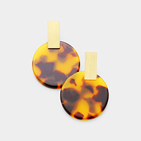 Metal Rectangle Tortoise Celluloid Acetate Disc Earrings
