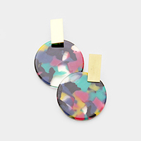 Metal Rectangle Celluloid Acetate Disc Earrings