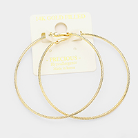 14K Gold Filled Textured Hypoallergenic Metal Hoop Earrings