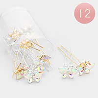 12PCS - Crystal Butterfly Mini Hair Comb Pins