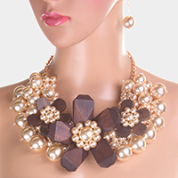 Wooden Triple Flower Pearl Choker Necklace