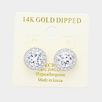 14K Gold Dipped 8mm Cubic Zirconia Hypoallergenic Round Stud Earrings
