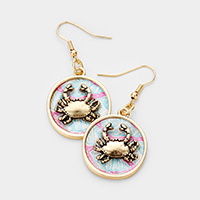 Patterned Crab Accented Dangle Earrings