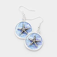 Patterned Starfish Accented Dangle Earrings