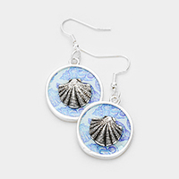 Patterned Shell Accented Dangle Earrings