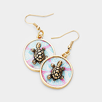 Patterned Turtle Accented Dangle Earrings