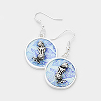 Patterned Mermaid Accented Dangle Earrings