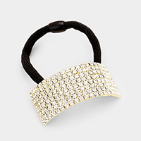 8-Row Rhinestone Pave Rectangle Ponytail Hair Band