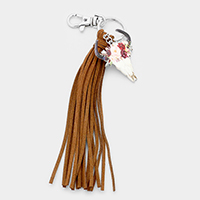 Patterned Steer Head Suede Tassel Key Chain